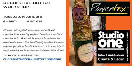 Create a decorative wine bottle, with mixed media & Powertex! [£20] tickets
