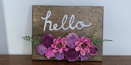 "Wood Flower Wall Decor ""Hello"" 8/8 tickets"