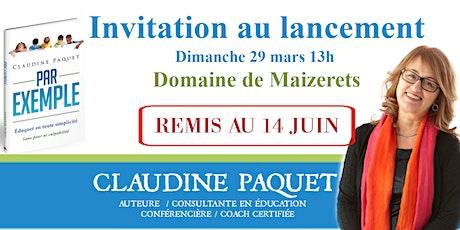 Lancement du livre de Claudine Paquet  REMIS AU 14 JUIN billets