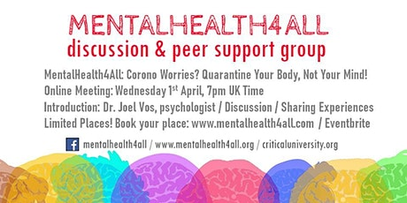 MentalHealth4All: Corono Worries? Quarantine Your Body, Not Your Mind! tickets