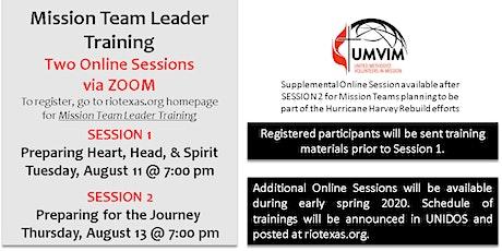 Mission Team Leader Training (August 2020) tickets
