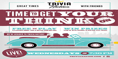 Trivia Nation Free Live Trivia at The Sail Pavilion Wednesdays at 7:30pm tickets