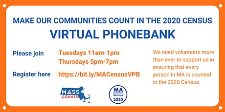 2020 Census: MA Virtual Phonebank tickets