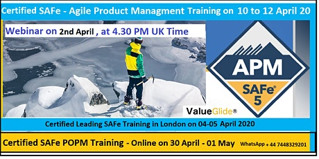 Free Webinar for SAFe Agile Product Management course content tickets