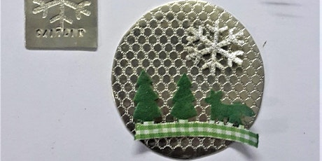 Pewter Christmas decoration making. tickets