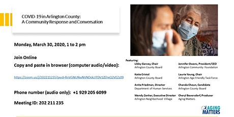 COVID-19 in Arlington County:  A Community Conversation and Conversation tickets