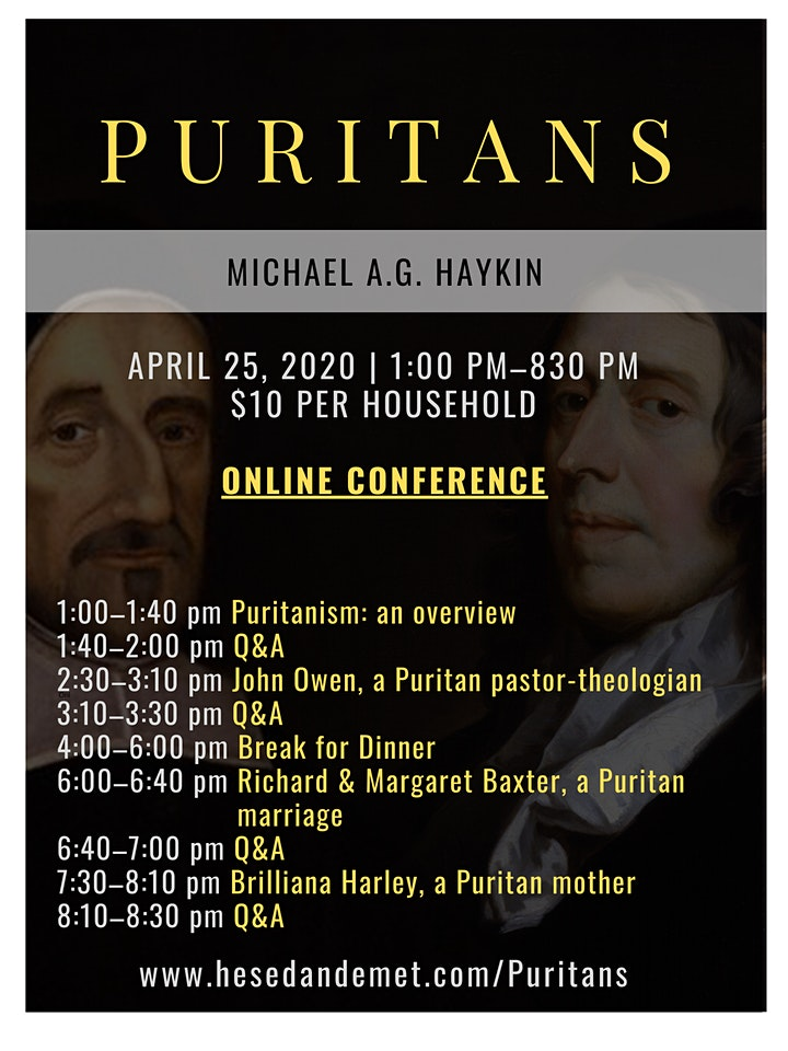 PURITANS with Michael Haykin (Online Conference) image