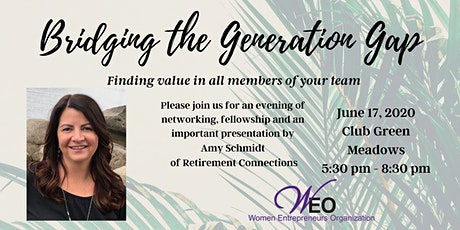Women Entrepreneurs Org June 2020 - Managing Across the Generations, with Amy Schmidt of Retirement Connections tickets