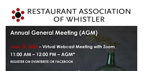 Restaurant Association of Whistler's 2020 Annual General Meeting tickets