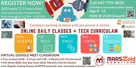 Online Daily Regular Classes to Continue Learning @ Home for age  8 - 15 tickets