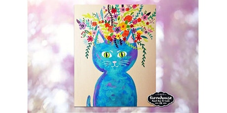 Paint and Sip - Step by Step Class - Flower Cat (04-06-2020 starts at 7:30 PM) tickets