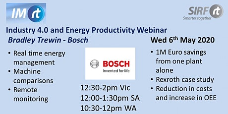 SIRF Industry 4.0 and Energy Productivity Webinar - Bradley Trewin, Bosch tickets