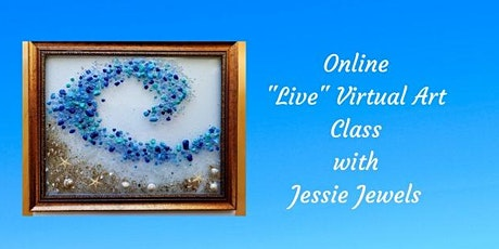 Online Live Virtual Art Class - Curlin' Wave Resin Frame tickets