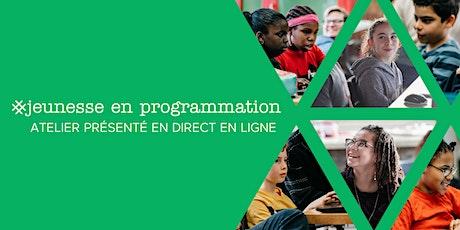 Atelier en direct en ligne Filles en programmation: Conception de Jeux avec Scratch (pour les enfant Enfants de 9 à 12 ans + adulte responsable ans) - Salle Virtuelle 11-TS billets