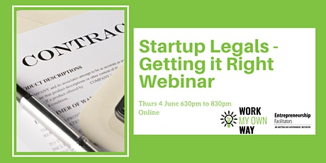 Startup Legals: Getting it Right - Webinar tickets