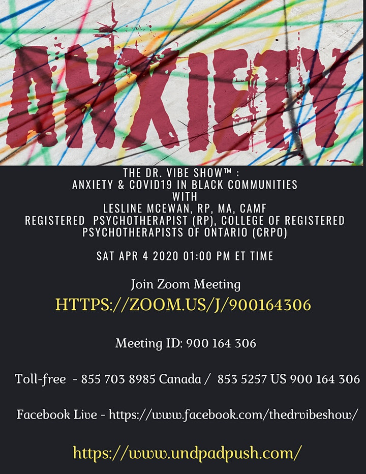 THE DR. VIBE SHOW™ & UNDPAD PUSH COALITION	PRESENTS  ANXIETY & COVID 19 image