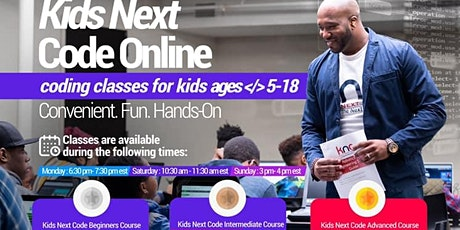 Online Class: Beginners, Intermediate & Advanced Coding for kids(ages 5-18) tickets