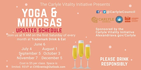 Yoga and Mimosas Event Series starts again on July 4th! tickets