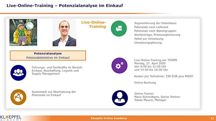 Potenzialanalyse im Einkauf | Live-Online-Training: Bild