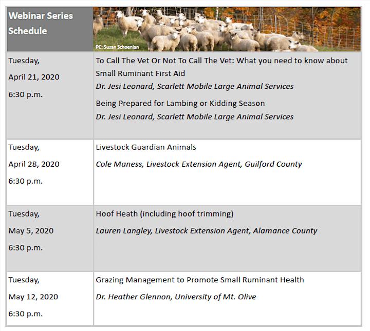 Piedmont Regional Goat & Sheep Conference Webinar Series image