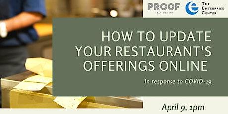 How to update your restaurant's offerings online tickets