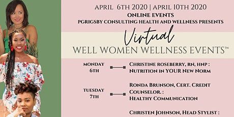 """Virtual """"Well Women Wellness Events™️"""" Week of April 6th, 2020 tickets"""