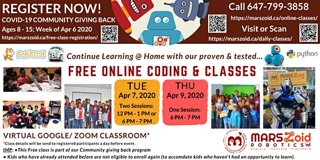 COVID-19 Community Giving Back Program -Free Online Coding Classes for Kids tickets