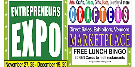 Crafters, Direct Sales, Exhibitors - Mall, 10 foot x 10 foot space in store, November 27 & 28 tickets