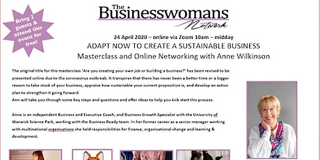 ADAPT - how to create a sustainable business -  masterclass & networking tickets
