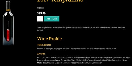 Virtual Wine Tasting: 2017 Spicewood Tempranillo (Double Gold) tickets