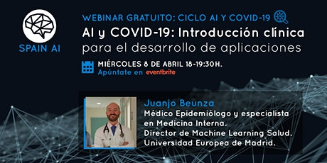 Webinar gratuito: AI y COVID-19: Intro clínica desarrollo de aplicaciones entradas
