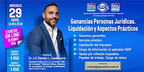Curso online - Ganancias personas jurídicas. Liquidación y Aspectos Prácticos entradas