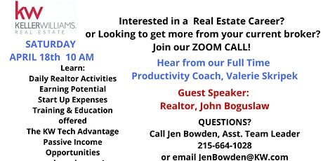 Real Estate Career ZOOM call information session tickets