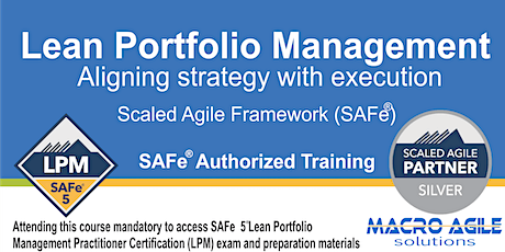 SAFe®5 Lean Portfolio Management Practitioner with Certification-Virtual tickets