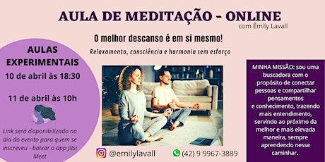 AULA DE MEDITAÇÃO EXPERIMENTAL - ONLINE ingressos
