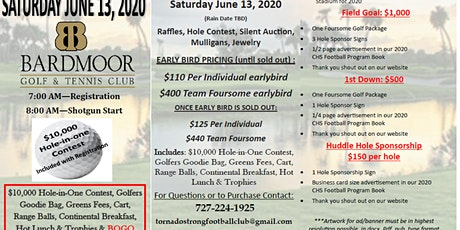 Cancelled - $10k Hole in 1 All Inclusive Golf Tournament at Bardmoor w/BOGO tickets