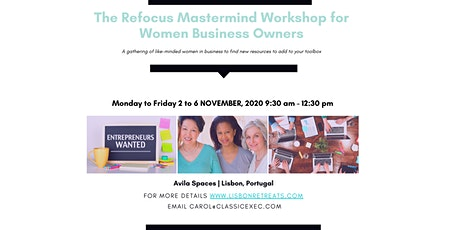 Refocus Mastermind Workshop for Women Business Owners by Classic Exec bilhetes