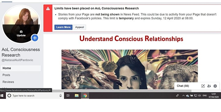 AoL Consciousness Research Facebook Blocked