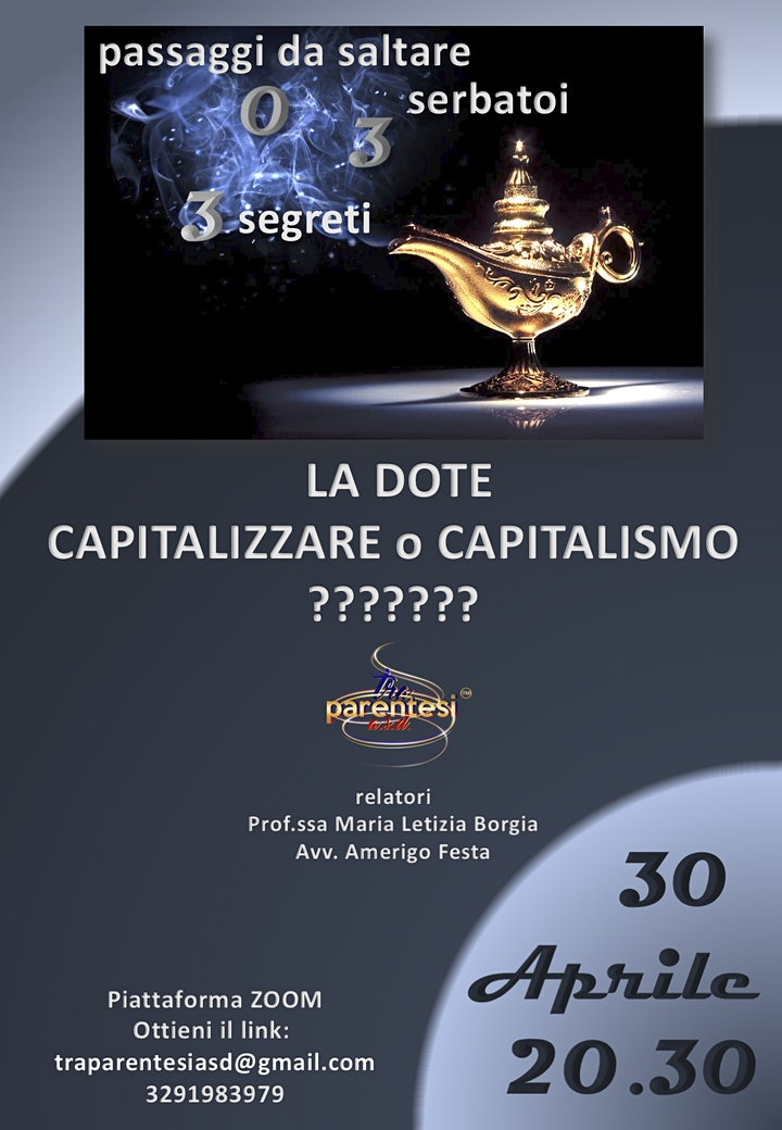 Immagine La dote - capitalizzare o capitalismo?
