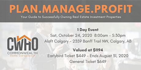 PLAN.MANAGE.PROFIT.Your Guide to Successfully Owning Real Estate Investment tickets