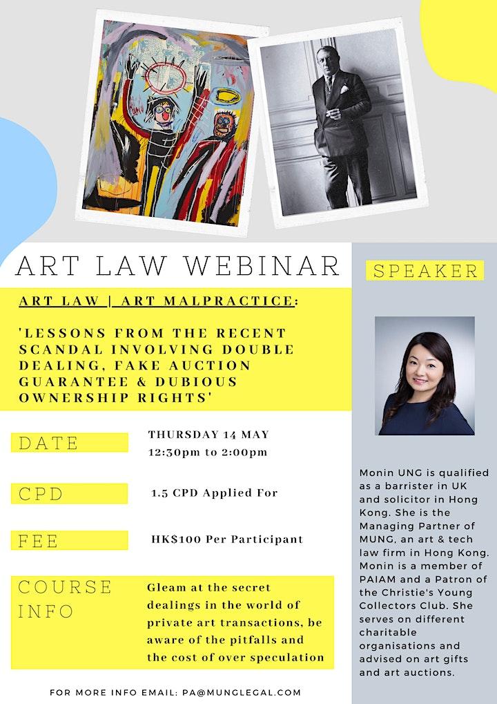 Hong Kong Art Law Webinar: Art Law   Art Malpractice image