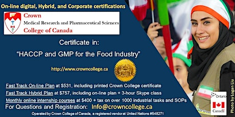 "On-line Certification on ""HACCP and GMP for the Food Industry"" - Start today! tickets"