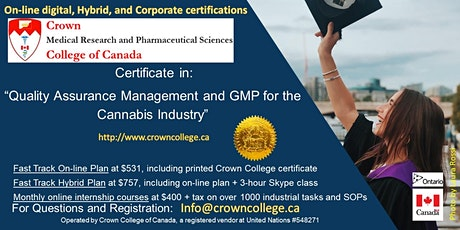 "On-line Certification in ""Quality Assurance Management and GMP for the Cannabis Industry"" - Start today! tickets"