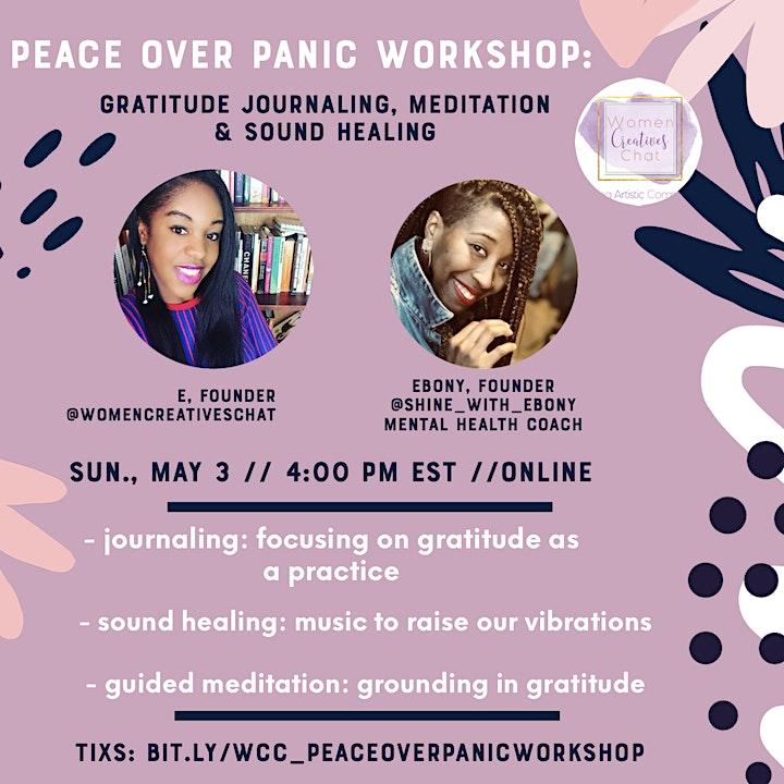 Peace over Panic Workshop: Gratitude Journaling, Meditation & Sound Healing image