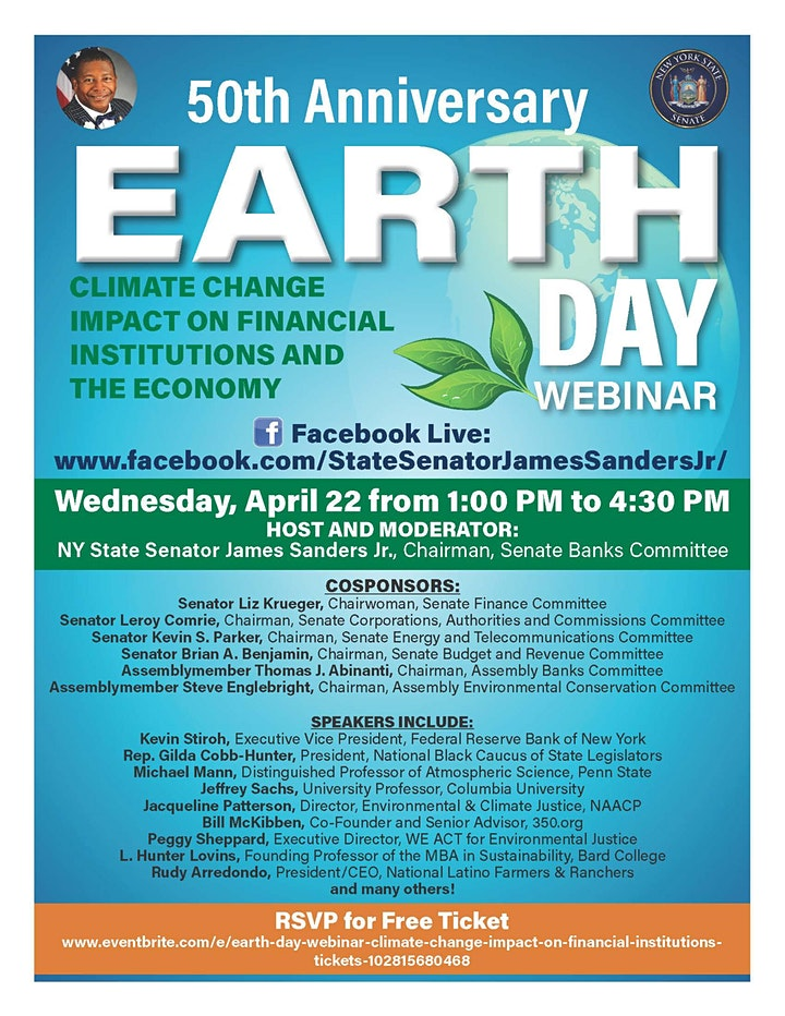 POSTPONED:  Earth Day Webinar: Climate Change Impact on Financial image
