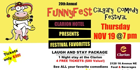 Thursday, November 19 @ 7pm - COMEDY EXTRAVAGANZA - 20th Annual FunnyFest Calgary Comedy Festival - 6 Comedians tickets