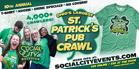 "SOCIAL CITY'S 10TH ANNUAL ST. PATRICK'S PUB CRAWL ""REMIX"" tickets"