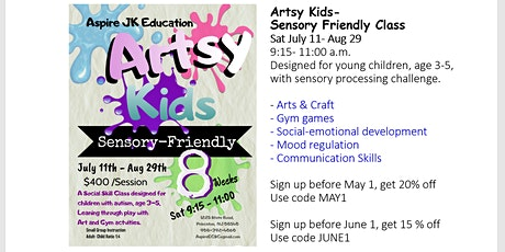 Artsy Kids: Sensory Friendly  Art and Gym Class - $65/Class tickets