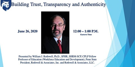 Webinar 3: Building Trust, Transparency and Authenticity tickets