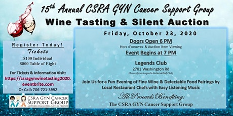 CSRA GYN Cancer Support Group 15th Annual Wine Tasting & Silent Auction - October 23, 2020 tickets